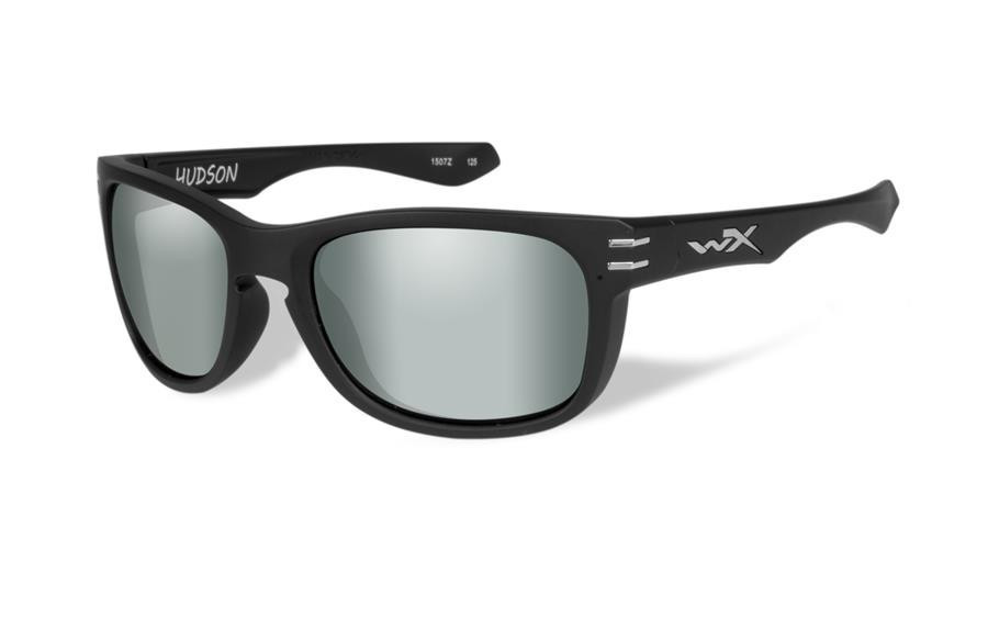 fcedfbb9ad Wiley X Hudson Polarized Platinum Flash Lens   Matte Black Frame