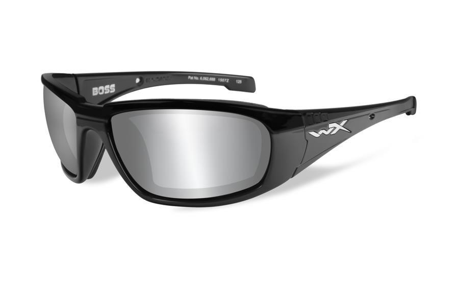 16768fedfd73 Wiley X Boss Sunglasses Silver Flash Grey Lens / Gloss Black Frame