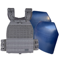 5.11 TacTec Plate Carrier [Colour: Storm] w/ Armor Australia Weighted Training Plate [Quantity: 2][Weight: 4.5 Kg]