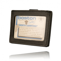 Boston Leather Horizontal Double ID Holder with Clip
