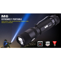 PowerTac M6 - 1300 Lumens USB Rechargeable LED Flashlight w/ Magnetic Base