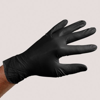 Sirchie Black Powder-Free Nitrile Gloves 10 inch x 4 mil XL - Box of 100