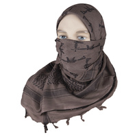 "5ive Star Shemagh Desert Scarf Cotton Mocha Black Crossed Guns 42x42"" 3738000"