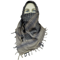 "5ive Star Shemagh Desert Scarf Cotton Mocha Black 42x42"" 3740000"
