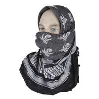 "5ive Star Shemagh Desert Scarf Cotton Black / White Jolly Roger 42x42"" 3748000"