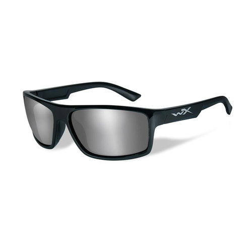 Wiley X Peak Sunglasses Silver Flash Lens / Gloss Black Frame