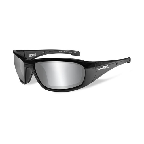 Wiley X Boss Sunglasses Silver Flash Grey Lens / Gloss Black Frame